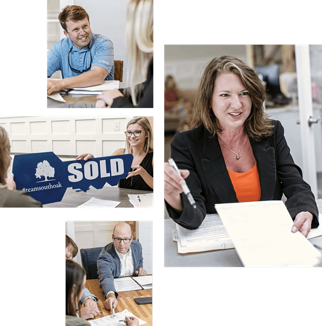 collage of realtors and closing attorneys at the closing table for south oak title and closing